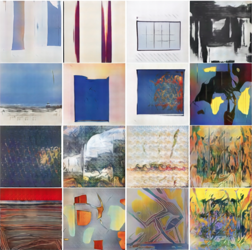 The replacement of human artists by machine generated algorithms - Images generated by  - CAN